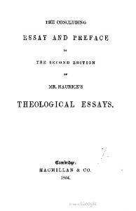 1854 maurice conclusion to theological essays
