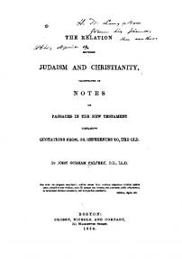 1854 palfrey relation between judaism and christianity