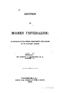 1856 bartlet lectures on modern universalism