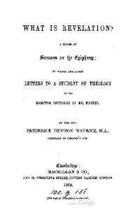 1859 maurice what is revelation