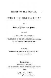 1860 maurice sequel to the inquiry what is revelation
