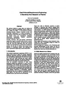 2004 Lamsweerde RE Goal Oriented Requirements Engineering   A Roundtrip from Research to Practice