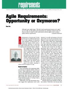 2004 Orr IEEE Software Agile requirements opportunity or oxymoron