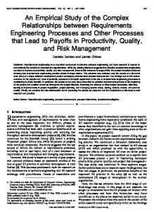 2006 Damian TSE An empirical study of the complex relationships between requirements engineering processes