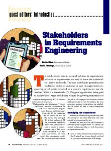 2007 Glinz IEEE Software Stakeholders in Requirements Engineering