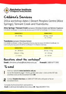 2014 Comm Chld Services Cert II III Timetable v1