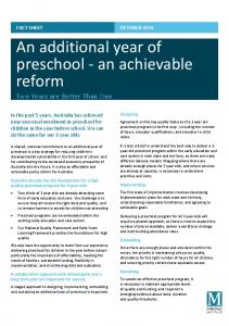 An additional year of preschool an achievable reform