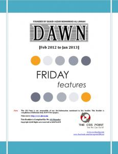 Dawn Friday Features Feb 2012 to Jan 2013