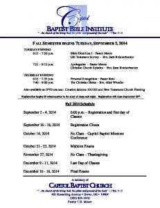 Fall 2014 Classes and Schedule