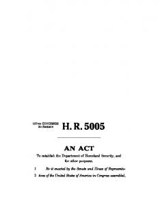 Fatherland Security Act hr 5005