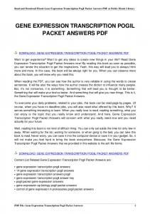 gene expression transcription pogil packet answers
