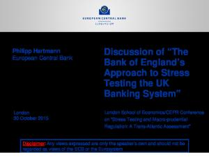 Hartmann 2015 10 30 Discussion of Bank of England's approach to stress testing the UK banking system by P Hartmann final