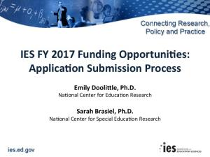 IES application submission FY2017