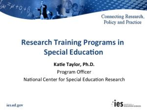 IES NCSER research training FY2017