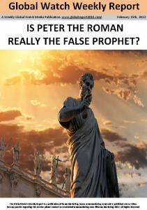 Is Peter the roman really The False Prophet