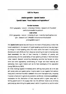 JSSJ Food Justice Call For Papers