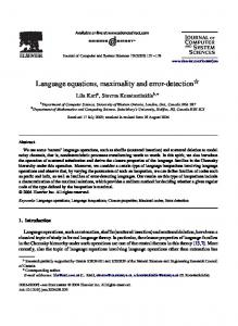 Language equations, maximality and error detection