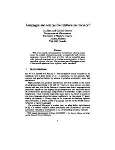 Languages and compatible relations on monoids