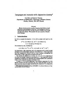 Languages and monoids with disjunctive identity