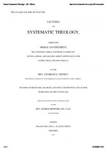 Lectures on Systematic Theology Charles Finney