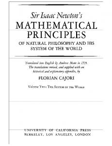 Mathematical Principles of Natural Philosophy II The System of the World   I