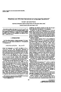 Maximal and Minimal Solutions to Language Equations