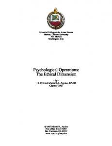 Psychological Operations The Ethical Dimension by Lt Col Mic