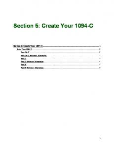Section 5   How To Create Your 1094 C