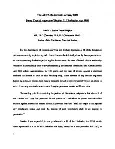Some crucial Aspects of Section 21 Limitation Act 1980