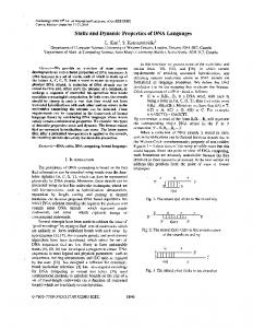 Static and dynamic properties of DNA languages