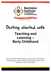 Teaching Learning Early Childhood