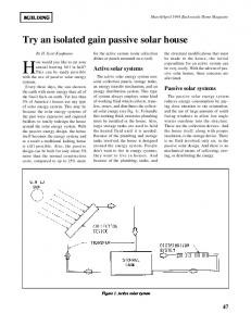 Try an isolated gain passive solar house