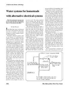 Water systems for homesteads with alternative electrical syst